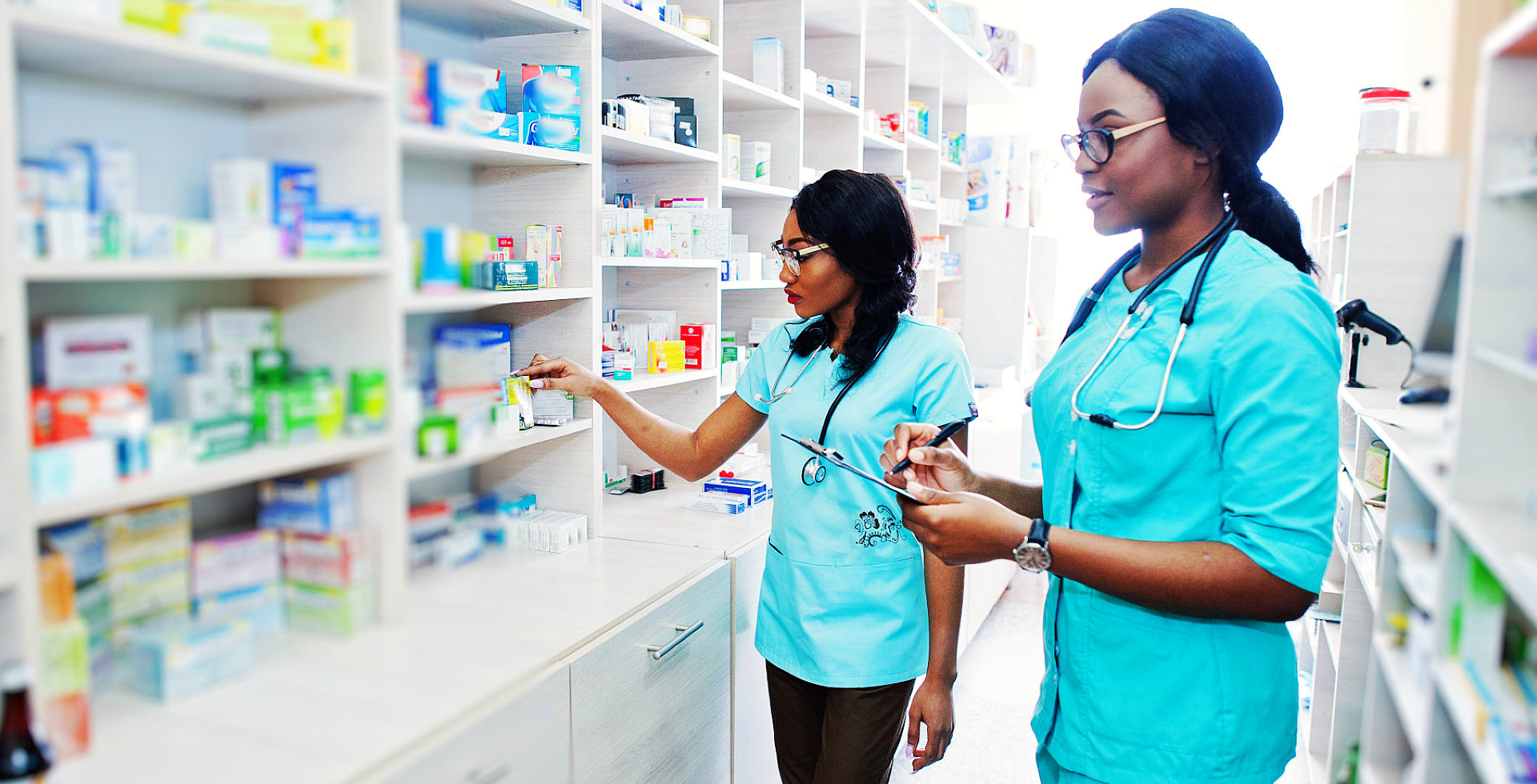 pharmacist checking the inventory