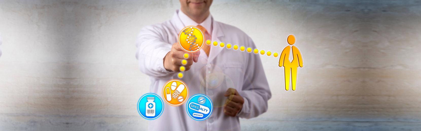 phramacist showing vector illustration of how medicines work